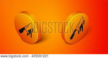 Isometric Bloody Knife Icon Isolated On Orange Background. Cutlery Symbol. Happy Halloween Party. Or