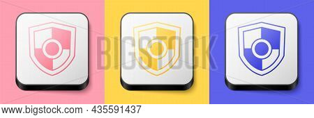 Isometric Shield Icon Isolated On Pink, Yellow And Blue Background. Guard Sign. Security, Safety, Pr