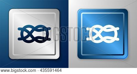 White Nautical Rope Knots Icon Isolated On Blue And Grey Background. Rope Tied In A Knot. Silver And