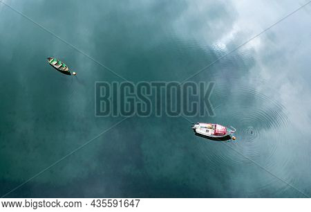 Aerial, Drone Photo Of Two Fishing Boats In Water. Ireland Cork County