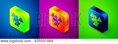 Isometric Planet Earth Symbol With Exclamation Mark Icon Isolated On Blue, Purple And Green Backgrou