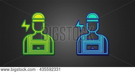 Green And Blue Electrician Technician Engineer Icon Isolated On Black Background. Vector