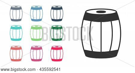 Black Wooden Barrel Icon Isolated On White Background. Alcohol Barrel, Drink Container, Wooden Keg F