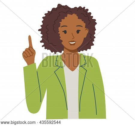 Pretty African-american Girl Raised Her Index Finger Up. Illustration On Inspiration And Ideas For B