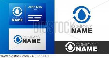 Logotype Recycle Clean Aqua Icon Isolated On White Background. Drop Of Water With Sign Recycling. Lo