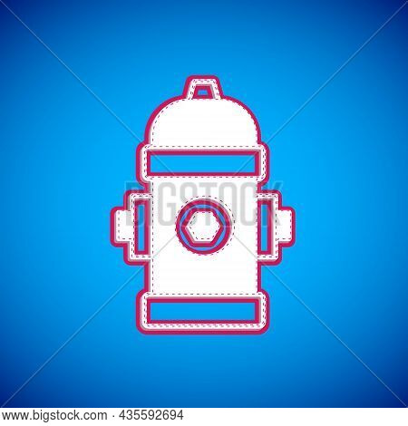 White Fire Hydrant Icon Isolated On Blue Background. Vector