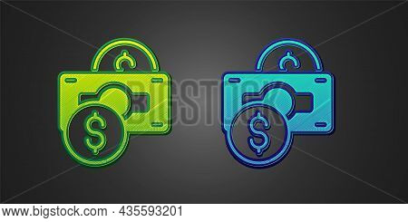 Green And Blue Stacks Paper Money Cash Icon Isolated On Black Background. Money Banknotes Stacks. Bi
