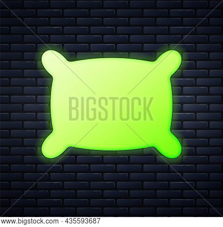 Glowing Neon Rectangular Pillow Icon Isolated On Brick Wall Background. Cushion Sign. Orthopedic Pil