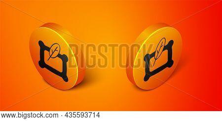 Isometric Rectangular Pillow Icon Isolated On Orange Background. Cushion Sign. Orthopedic Pillow. Or
