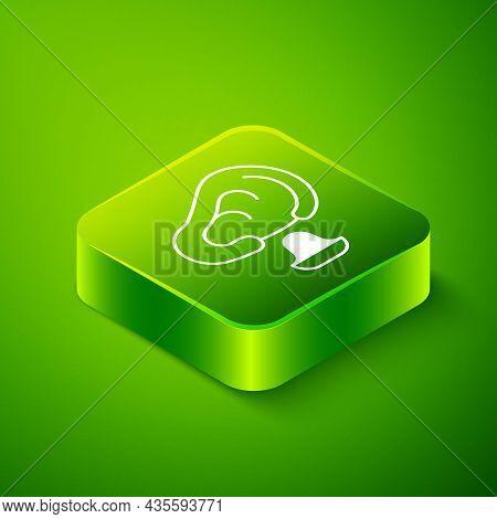 Isometric Earplugs And Ear Icon Isolated On Green Background. Ear Plug Sign. Noise Symbol. Sleeping