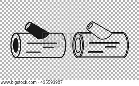 Black Wooden Log Icon Isolated On Transparent Background. Stack Of Firewood. Vector