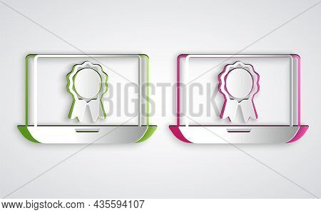 Paper Cut Online Education With Diploma Icon Isolated On Grey Background. Diploma Online At Home. We