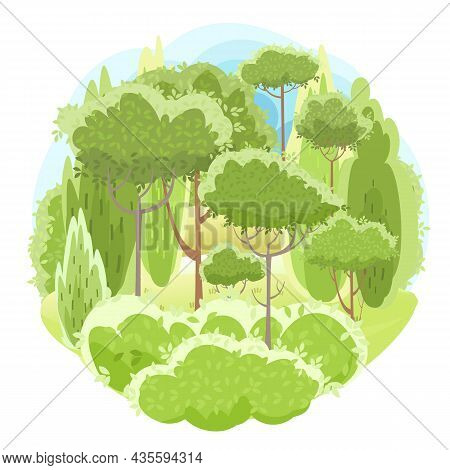 Amusing Beautiful Forest Landscape. Cartoon Style. Leaves. Grass Hills. Rural Natural Look. Cool Rom