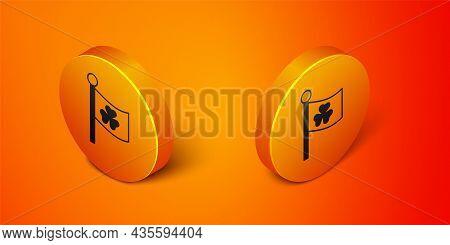 Isometric National Ireland Flag With Clover Trefoil Leaf Icon Isolated On Orange Background. Happy S