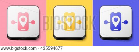 Isometric Route Location Icon Isolated On Pink, Yellow And Blue Background. Train Line Path Of Train