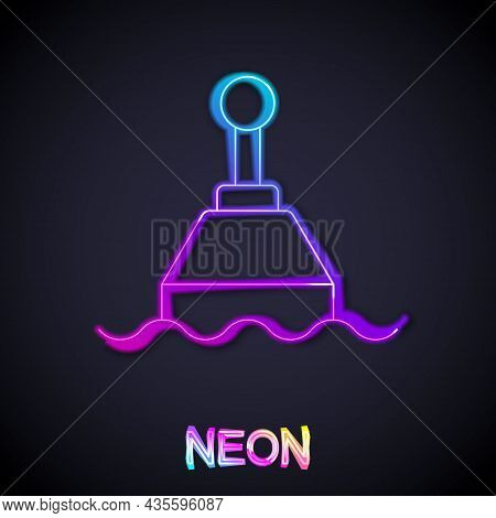 Glowing Neon Line Floating Buoy On The Sea Icon Isolated On Black Background. Vector