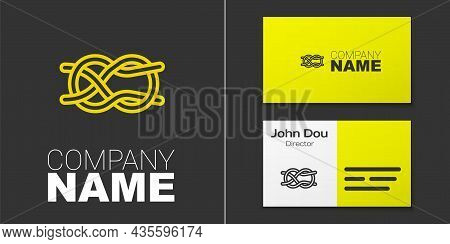 Logotype Line Nautical Rope Knots Icon Isolated On Grey Background. Rope Tied In A Knot. Logo Design