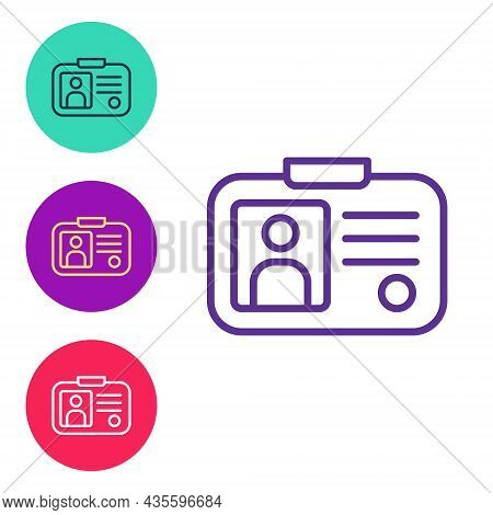 Set Line Taxi Driver License Icon Isolated On White Background. Set Icons Colorful. Vector