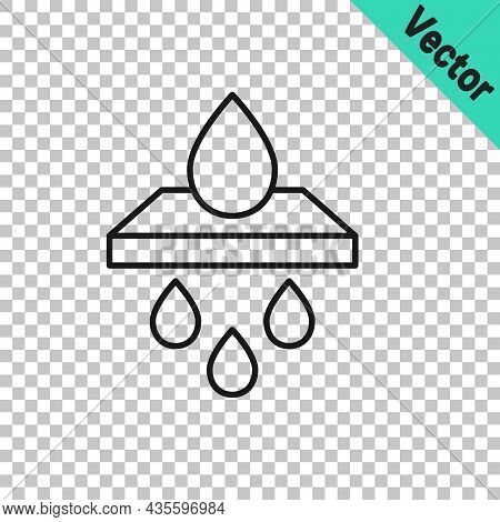 Black Line Water Filter Cartridge Icon Isolated On Transparent Background. Vector