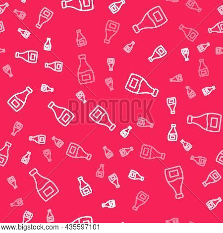 White Line Sauce Bottle Icon Isolated Seamless Pattern On Red Background. Ketchup, Mustard And Mayon