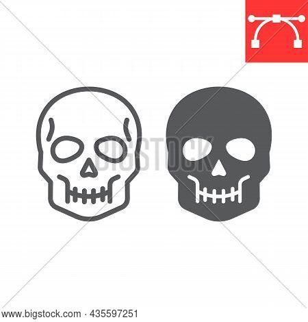Skull Line And Glyph Icon, Holiday And Halloween, Human Skull Vector Icon, Vector Graphics, Editable