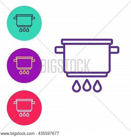 Set Line Cooking Pot On Fire Icon Isolated On White Background. Boil Or Stew Food Symbol. Set Icons