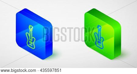 Isometric Line Electric Bass Guitar Icon Isolated On Grey Background. Blue And Green Square Button.