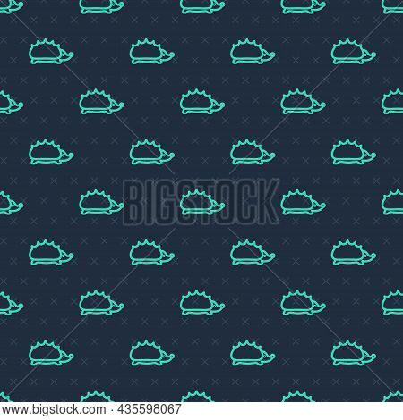 Green Line Hedgehog Icon Isolated Seamless Pattern On Blue Background. Animal Symbol. Vector