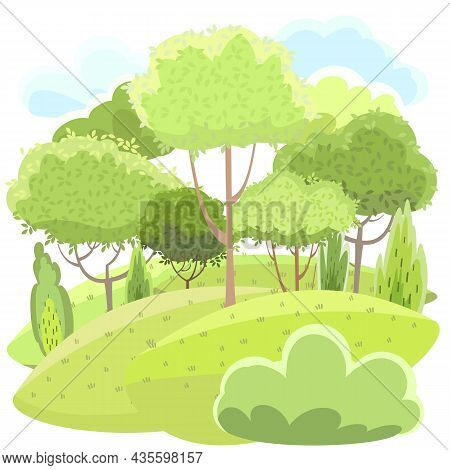 Amusing Beautiful Forest Landscape. Cartoon Style. Grass Hills. Foliage. Rural Natural Look. Cool Ro