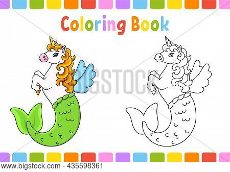 Coloring Book For Kids. Cute Mermaid Unicorn. Cartoon Character. Vector Illustration. Fantasy Page F