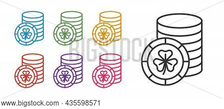 Set Line Golden Leprechaun Coin With Clover Trefoil Leaf Icon Isolated On White Background. Happy Sa