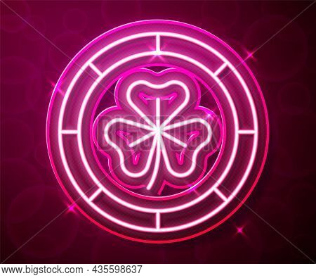 Glowing Neon Line Golden Leprechaun Coin With Clover Trefoil Leaf Icon Isolated On Red Background. H