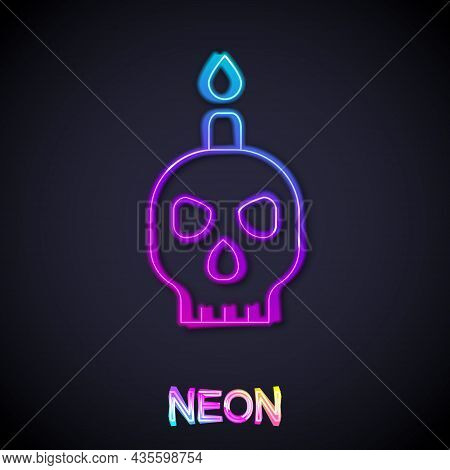 Glowing Neon Line Burning Candle On A Skull Icon Isolated On Black Background. Day Of Dead. Vector