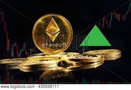 Golden Coin With Ethereum Logo Rise In Bull Market. New Cryptocurrency Ethereum Eth 2.0 Go Up In Tra
