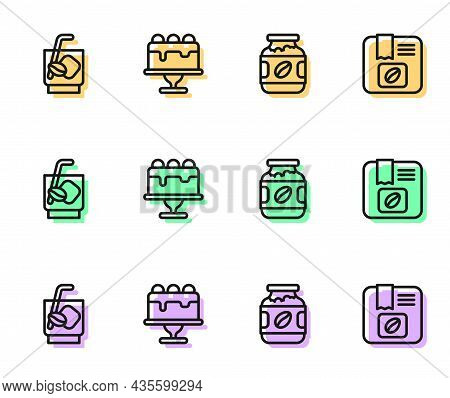 Set Line Coffee Jar Bottle, Espresso Tonic Coffee, Cake And Bag Beans Icon. Vector