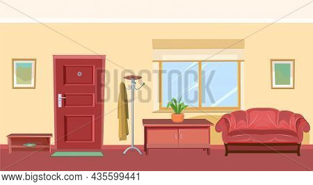 Hallway Interior. Cozy Room In A Residential Building. Door And Window. Furniture In The Interior. T