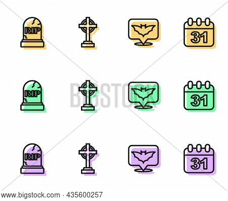 Set Line Flying Bat, Tombstone With Rip Written, Cross And Halloween Date 31 October Icon. Vector