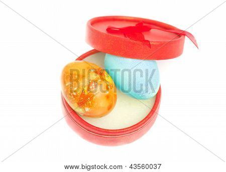 Red Round Box With Two Easter Eggs