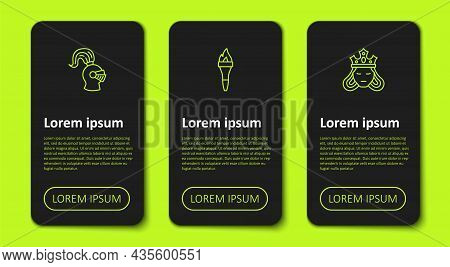 Set Line Medieval Helmet, Torch Flame And Princess Queen. Business Infographic Template. Vector