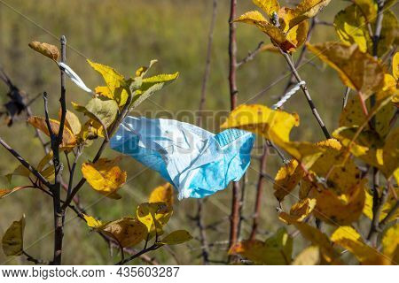 A Medical Mask Hangs On The Branches Of A Tree In Autumn. They Threw Away The Mask. The End Of The C