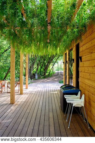Canopy Overgrown With Green Plants, Nice Landscaping Of Cafe Exterior. Modern Landscape Design Of Ho
