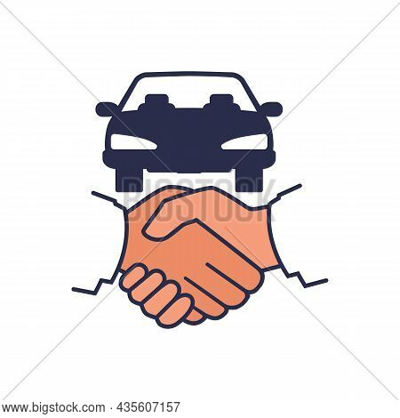 Car Deal. Businessman Handshake And Car Silhouette. Buy Rent Vehicle. Vector Illustration Flat Desig