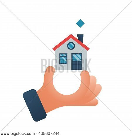 Home In Hand. Hand Holding House. Real Estate Agent Handing Over Home. Template For Sale Or Gift. Ve