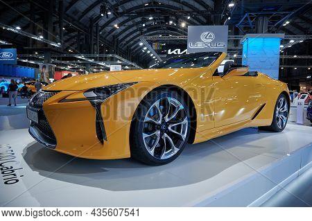 Barcelona, Spain -10.07.2021- Automobile Exhibition Barcelona 2021. Lexus Lc 500 Cabrio In Lexus Bra