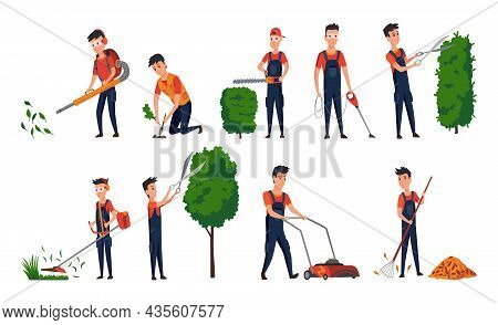 Professional Gardeners With Different Tools And Poses. Maintenance Performing, Plants And Lawn Care,