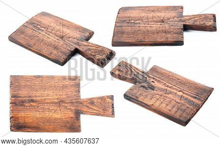 Old Wooden Cutting Boards Isolated On A White Background.