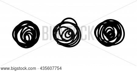 Hand-drawn Tangled Line, Knot. Set Of Hand Drawn Doodle Circles. Round Messy Lines. Vector Stock Ill