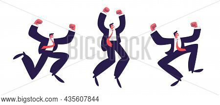 Jumping Men. A Set Of Victorious Men In Suits In A Red Tie Raised Their Hands Emotionally. Vector St