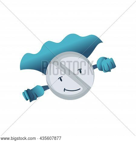 Pills Super Hero. Cute Cartoon Character With Smiled Face. Round Tablet In A Superhero Costume. Medi