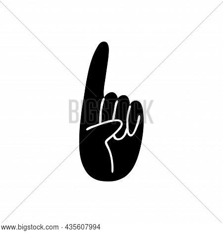 Cartoon One Thumbs Up. Black Silhouette Of A Hand On A White Background With A Forefinger. Vector St